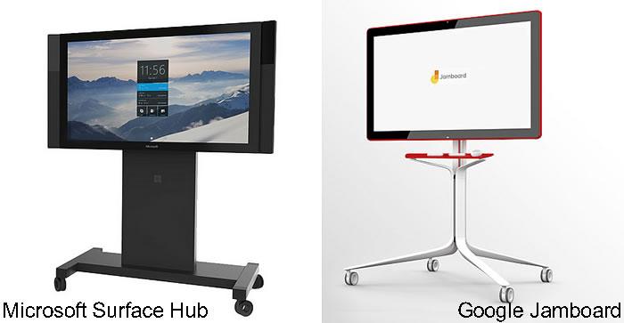 Comparaison Microsoft Hub et Google Jamboard