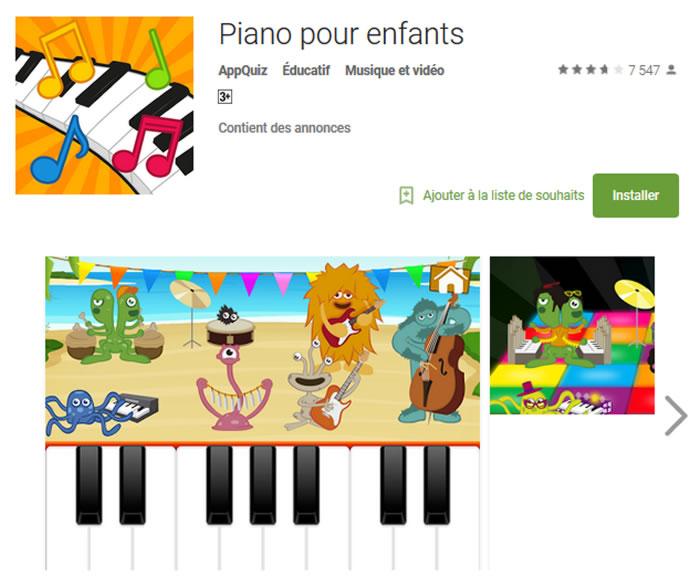 application piano pour enfant